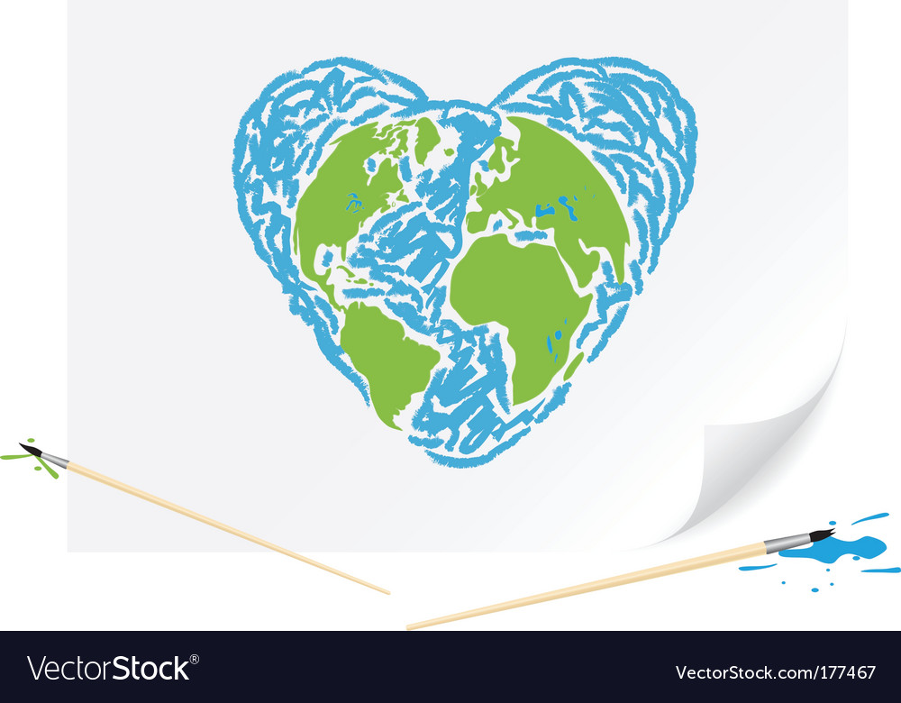 Drawing green earth blue heart vector image