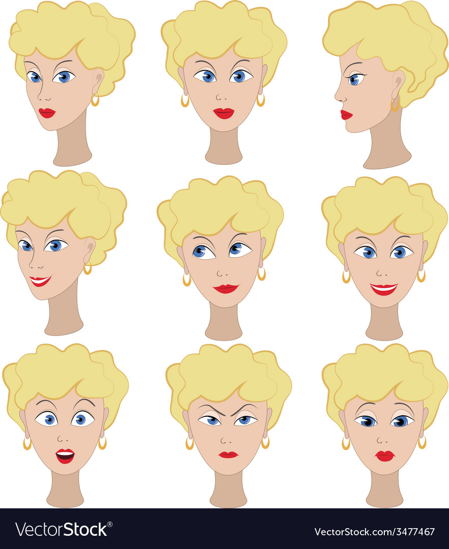 Set of variation of emotions of the same girl with vector image