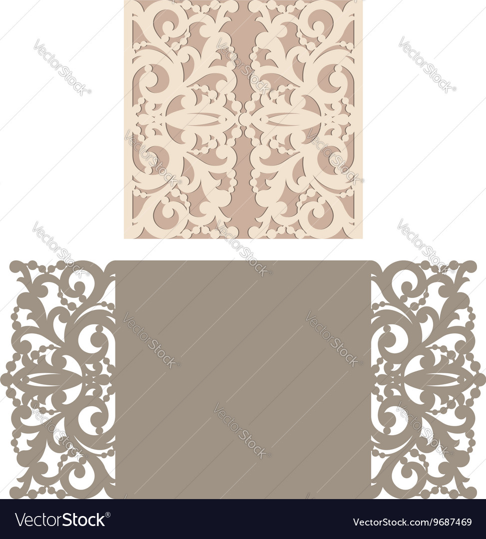 laser cut envelope template for invitation royalty free vector image vectorstock. Black Bedroom Furniture Sets. Home Design Ideas