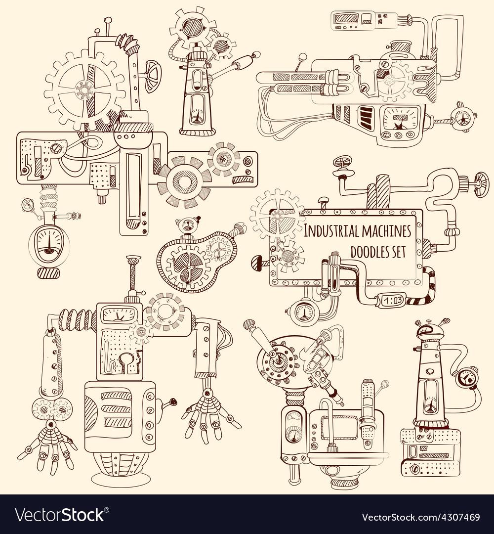 Industrial Machines Doodles Set vector image