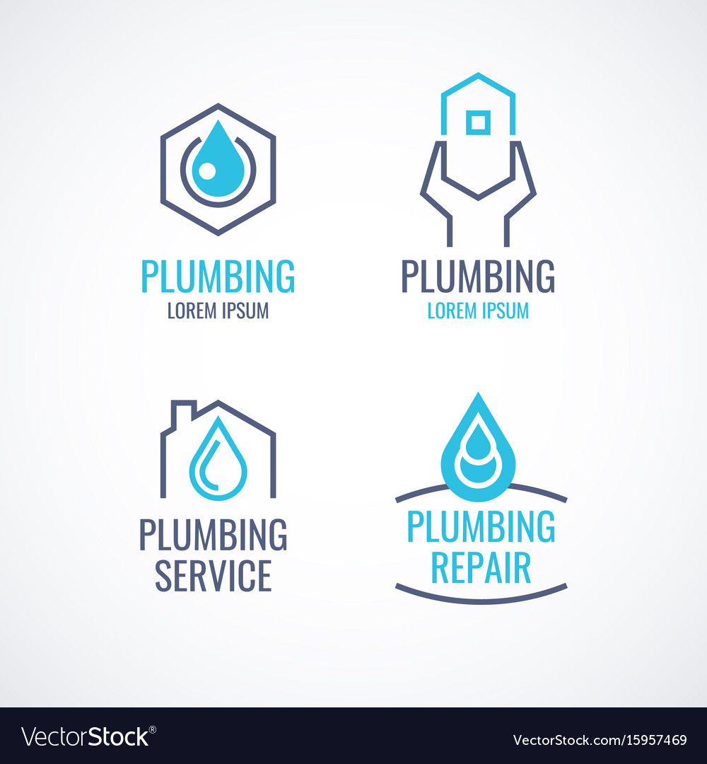 Set of logos emblems icons plumbing service vector image