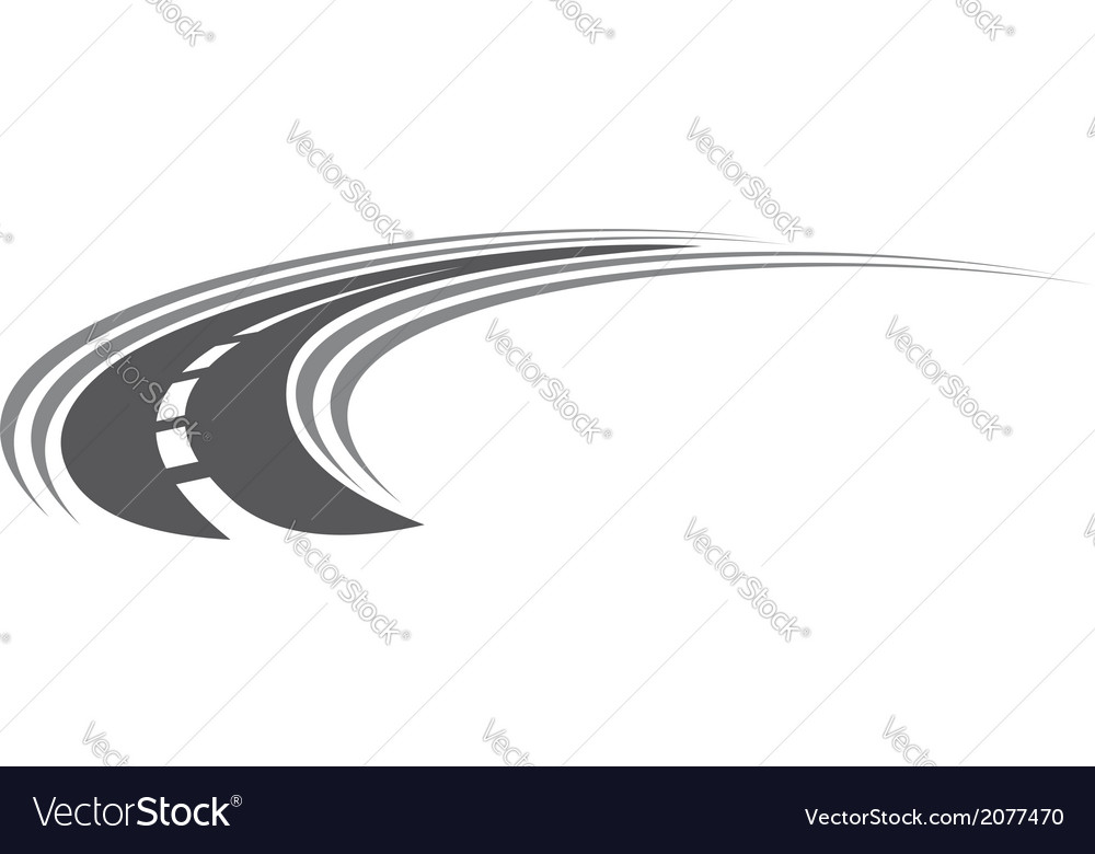 Curving tarred road or highway icon vector image