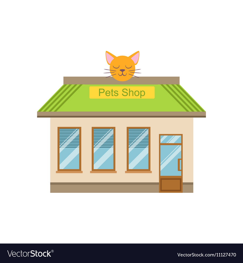 Pet Shop Commercial Building Facade Design vector image