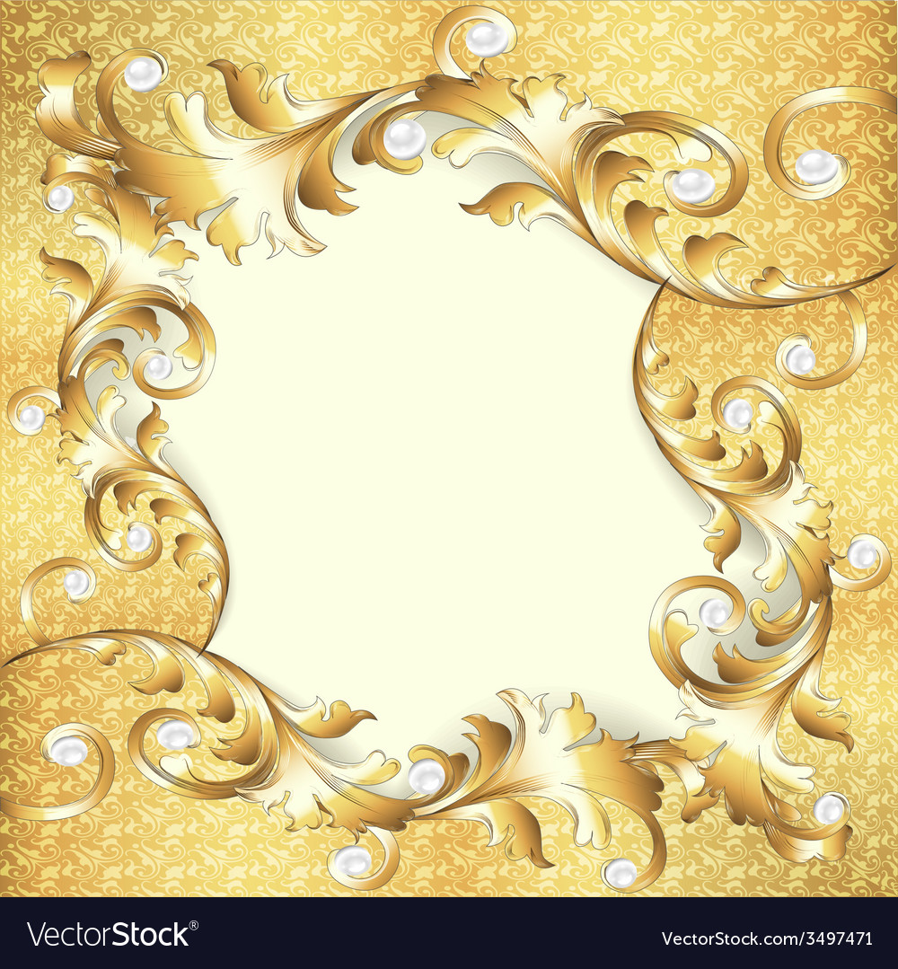 Background frame with gold ornaments Royalty Free Vector