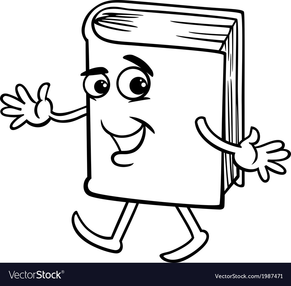 Book cartoon coloring page vector image