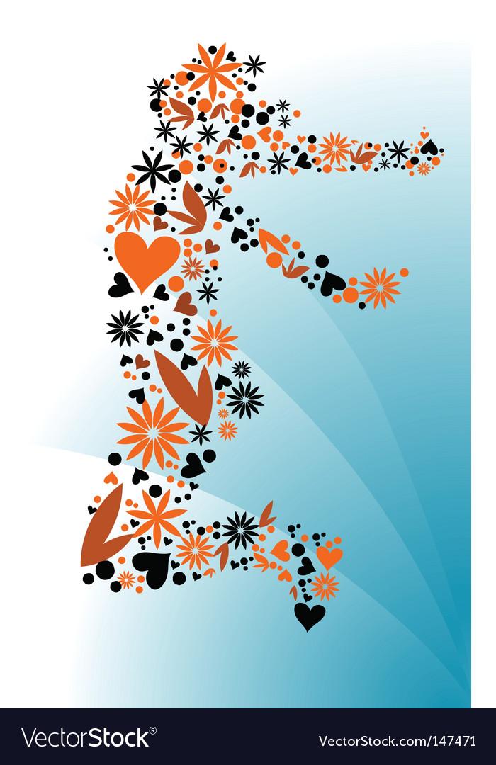 Groovy floral figure outline vector image