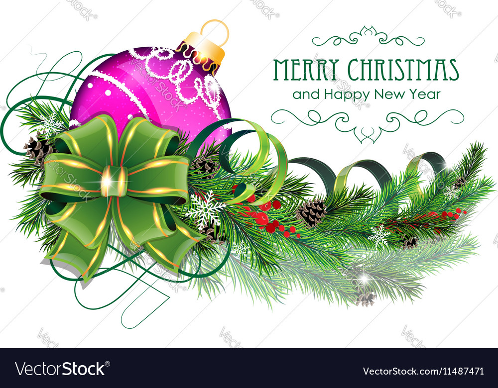 Purple Christmas ball with green bow and fir vector image