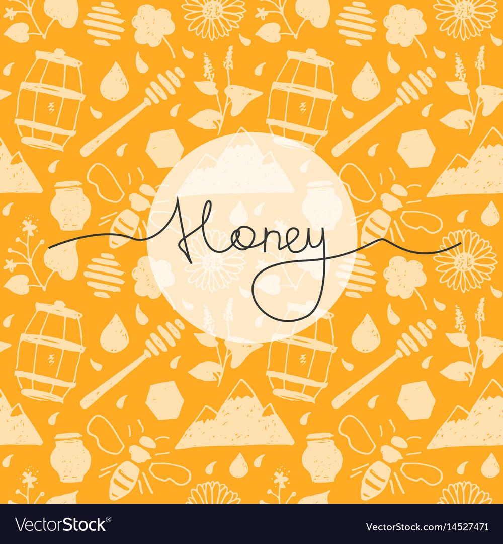 Seamless pattern honey vector image