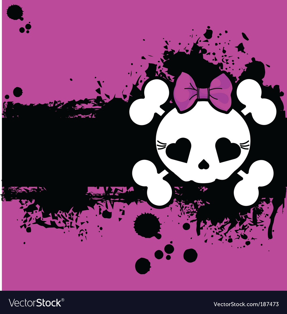 Grunge cute skull place card vector image
