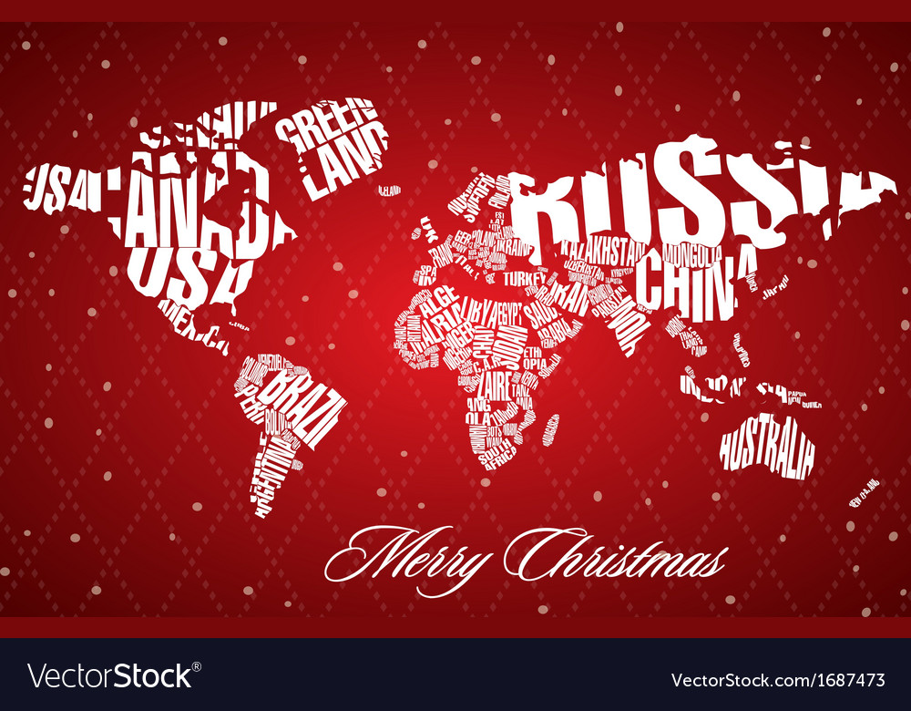 Christmas world map in typography royalty free vector image christmas world map in typography vector image gumiabroncs Image collections