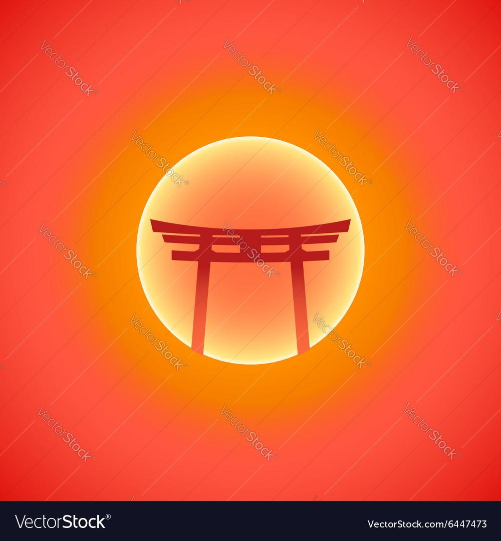 Flat abstract japan gate blazing sunset sun icon vector image