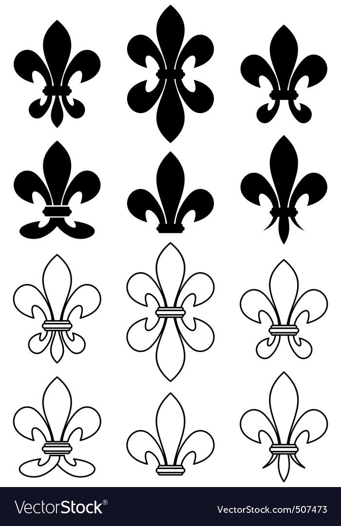 Set of royal heraldic lily vector image