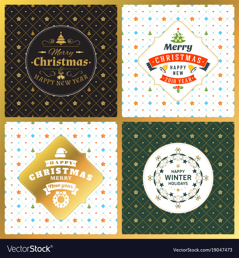 Set Of Vintage Christmas Greeting Cards Vector Image
