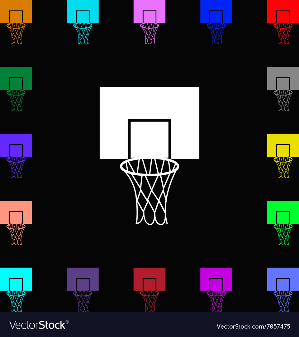 Basketball backboard icon sign Lots of colorful vector image