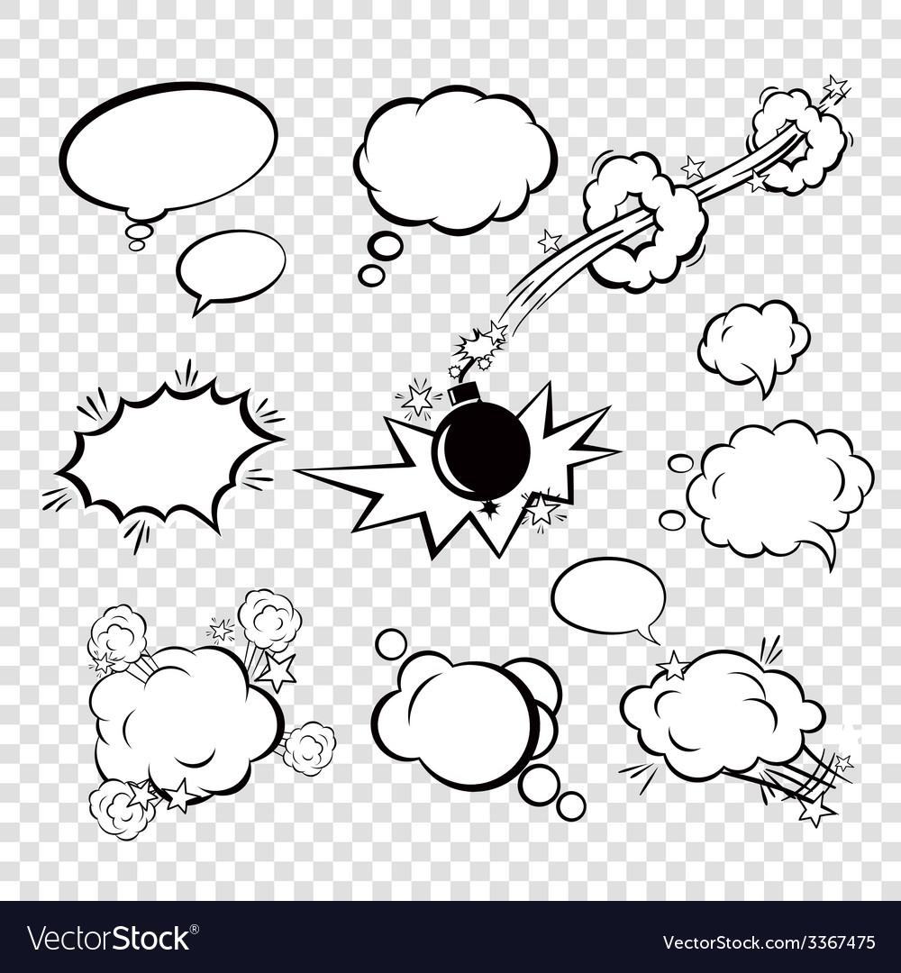 Comic set bubbles vector image
