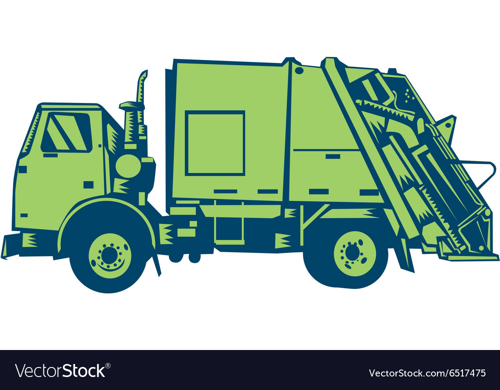 Garbage Truck Rear End Loader Side Woodcut vector image