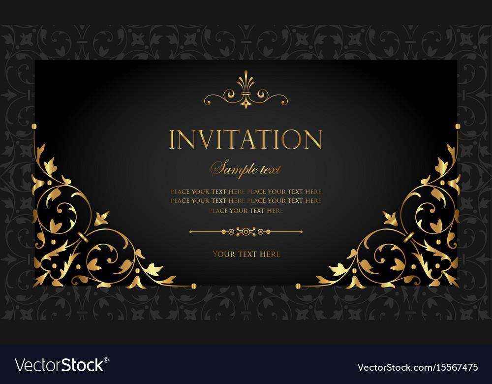 Invitation card luxury black and gold style vector image stopboris Gallery