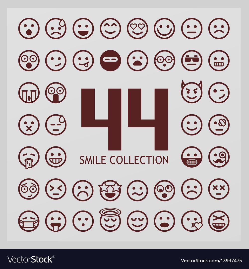 Outline smiles collection 44 emoji vector image