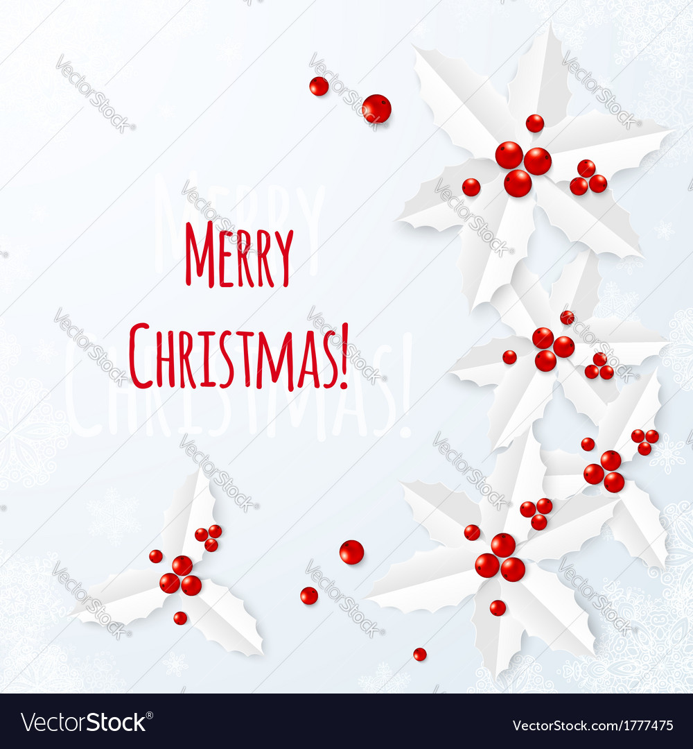 White paper christmas greeting card royalty free vector white paper christmas greeting card vector image m4hsunfo