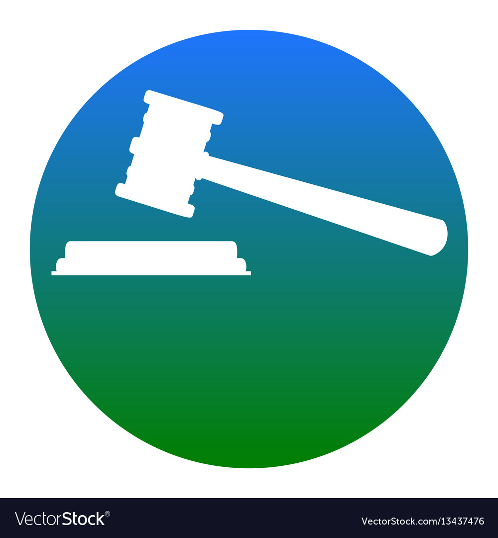 Justice hammer sign white icon in bluish vector image