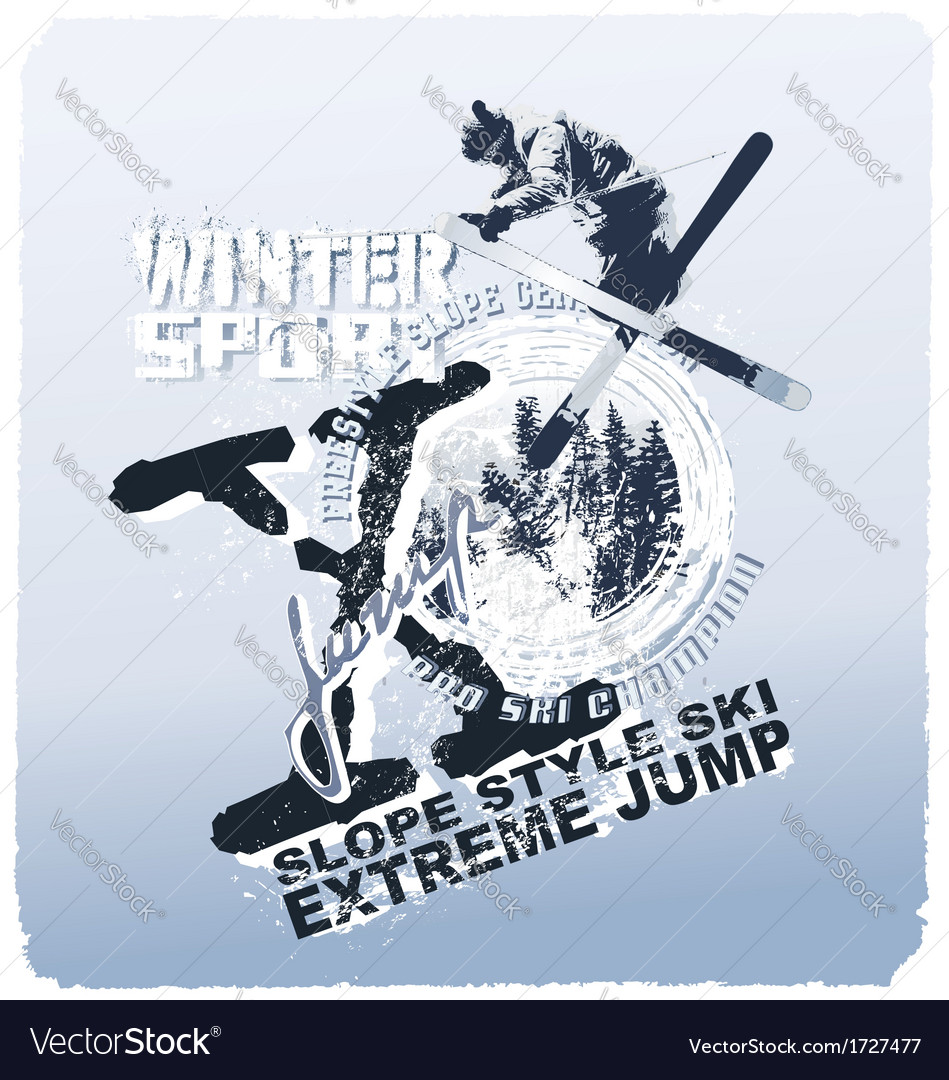 Ski jump winter sport vector image