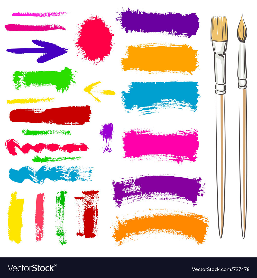 Brushes and grunge painted elements Vector Image