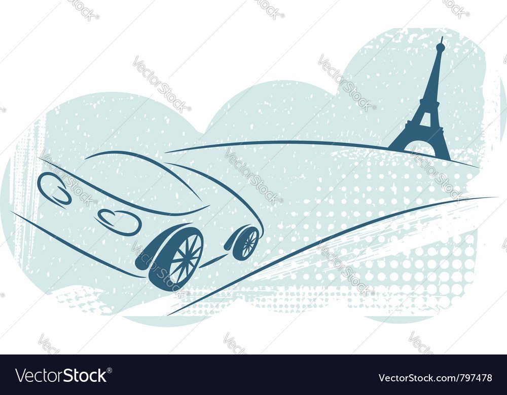 Car effel tower vector image