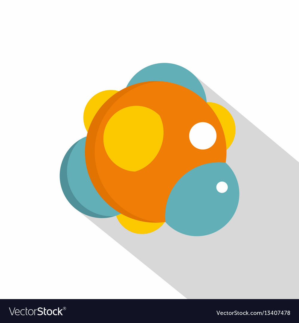 Group of atoms forming molecule icon flat style vector image
