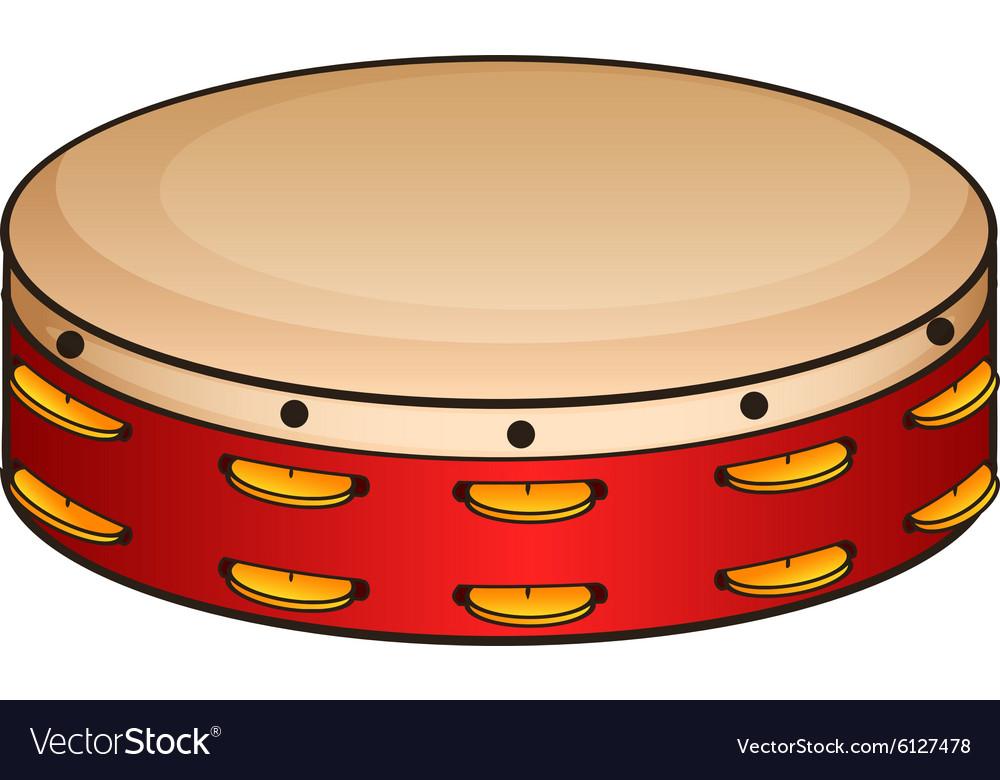 Red tambourine on white vector image