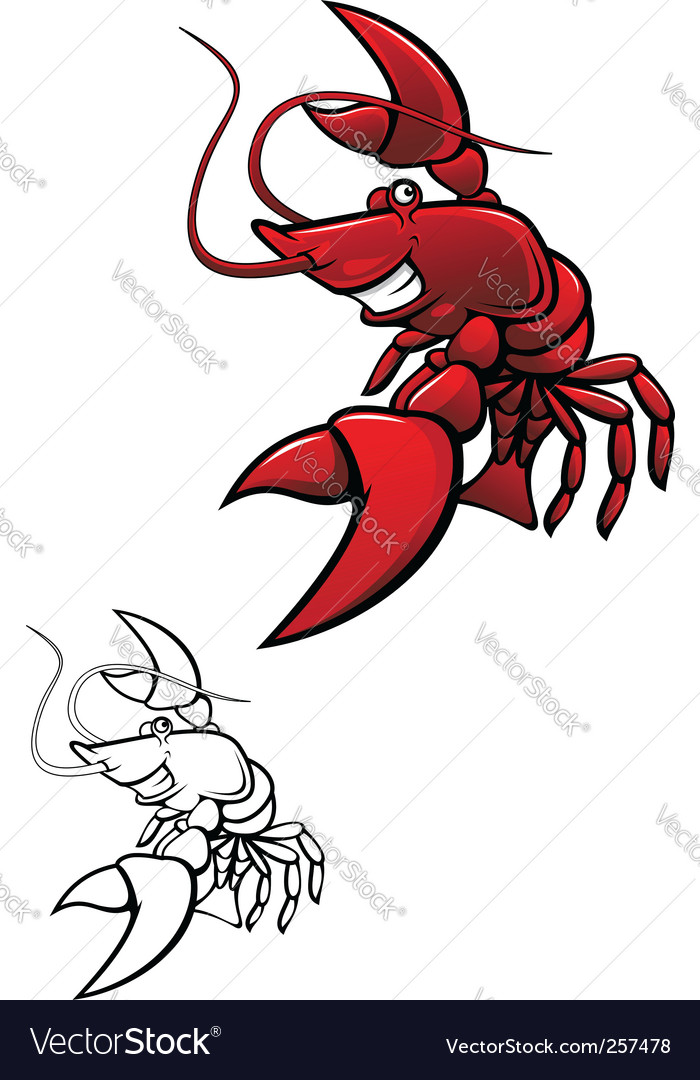 Smiling crayfish vector image