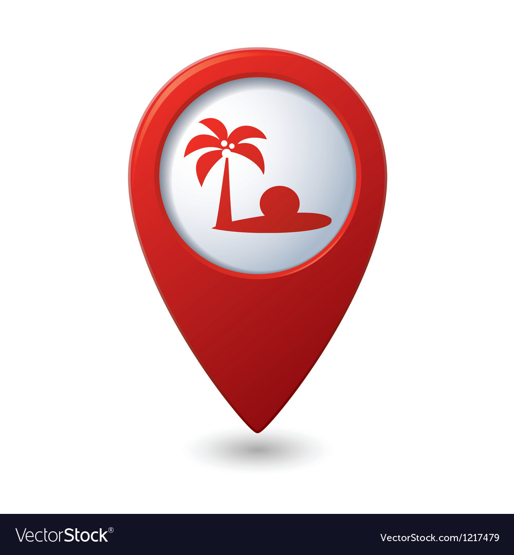 Map pointer with tropical beach icon vector image
