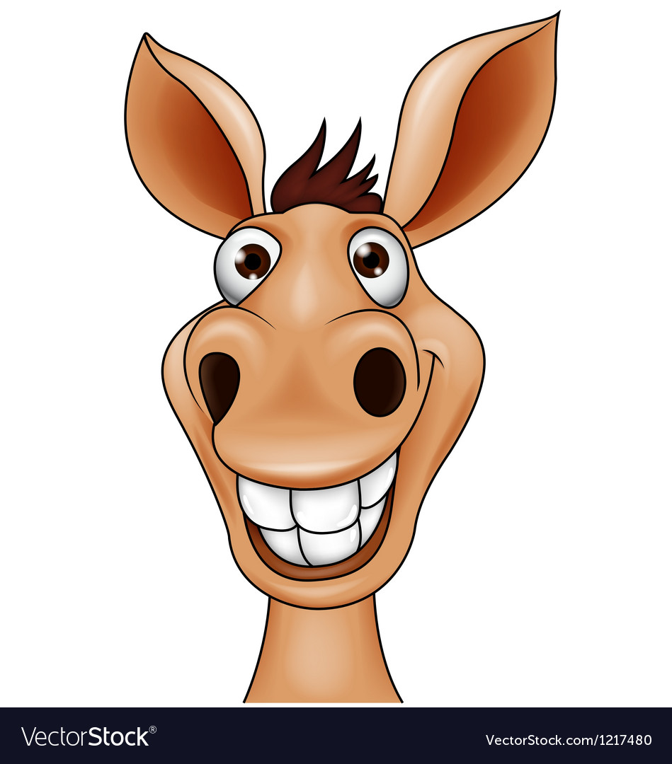 Smiling donkey head vector image