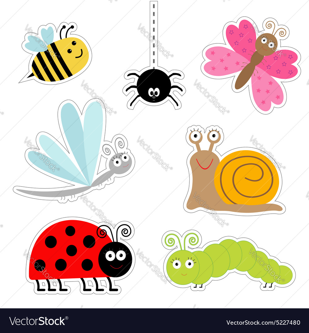 Cute cartoon insect sticker set Ladybug dragonfly vector image