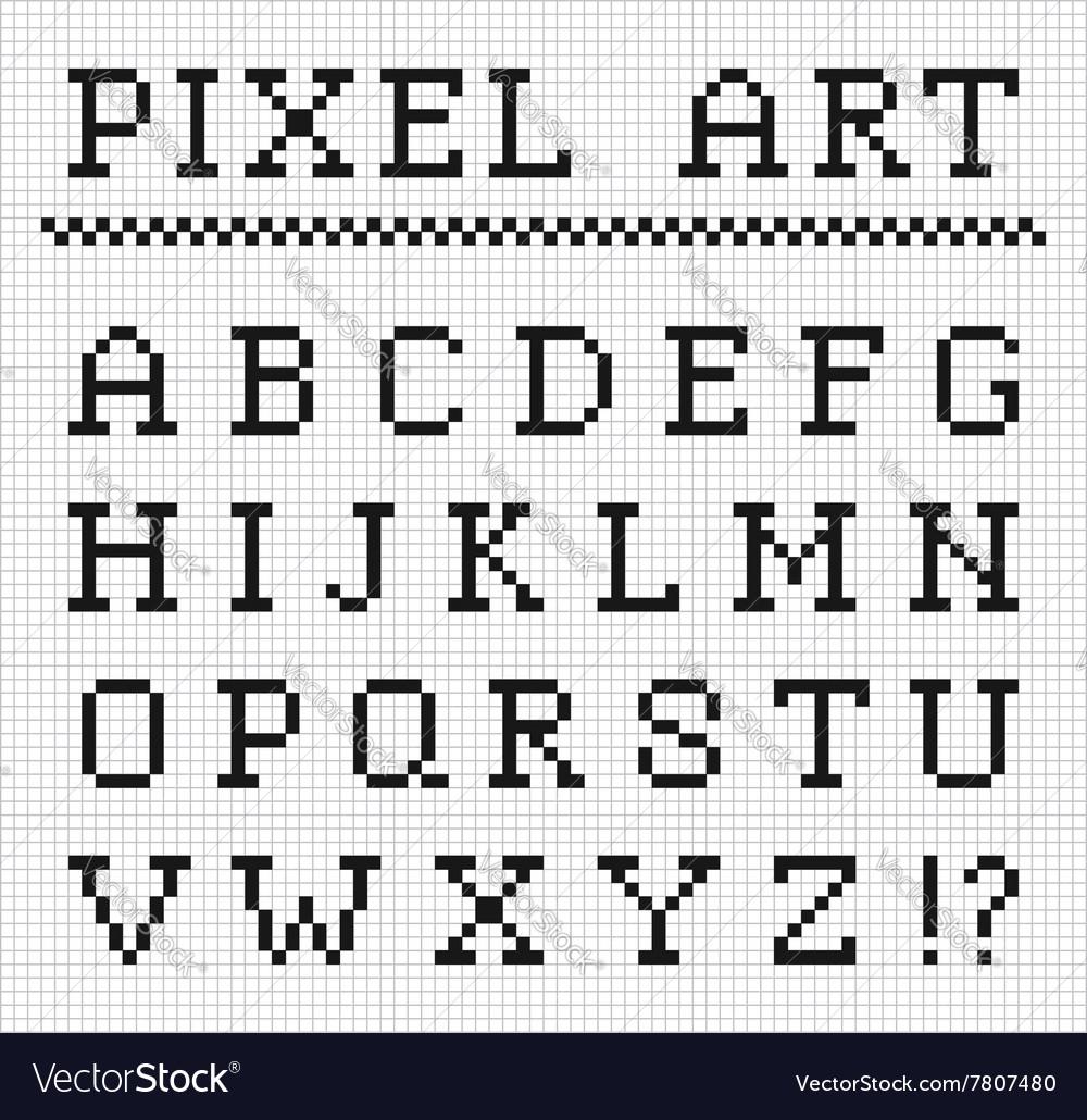 Pixel font set of pixel letters vector image