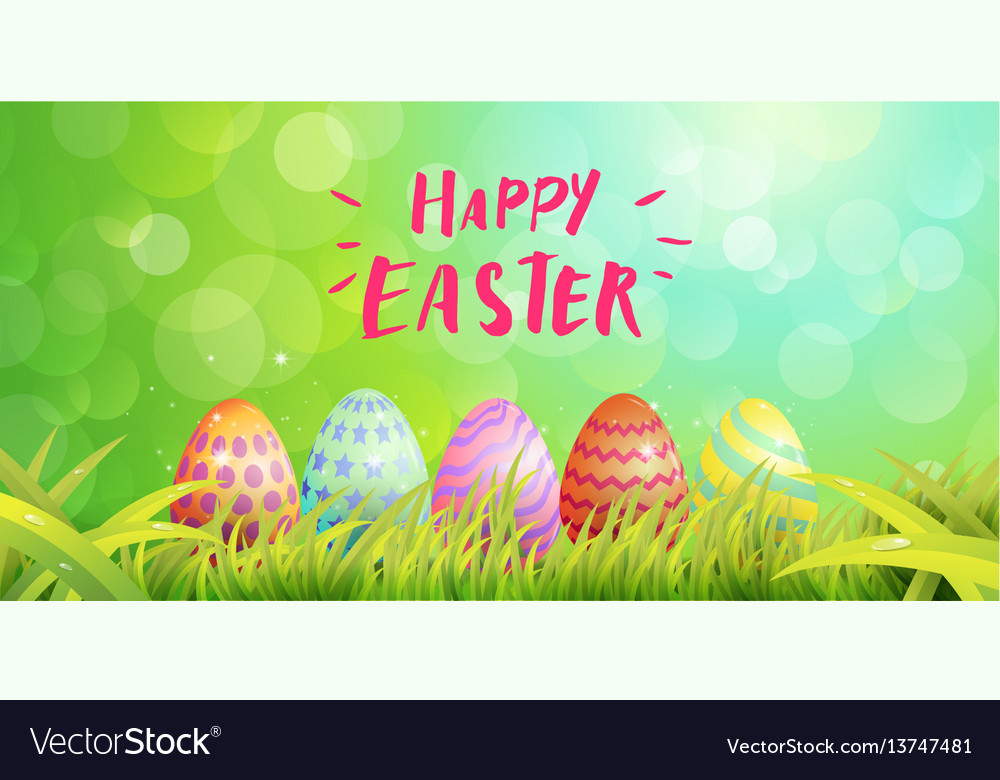 Happy easter typography egg paint magic vector image