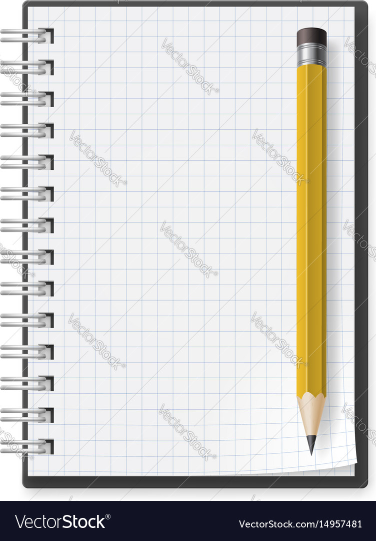 Notebook with yellow pencil on white background vector image