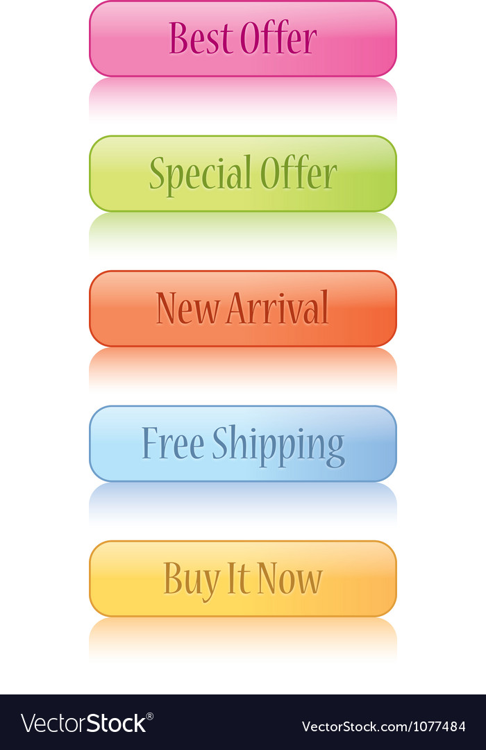 Glossy Shopping Cart buttons vector image