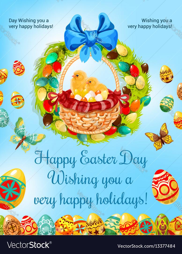 Easter spring holiday egg hunt celebration poster vector image
