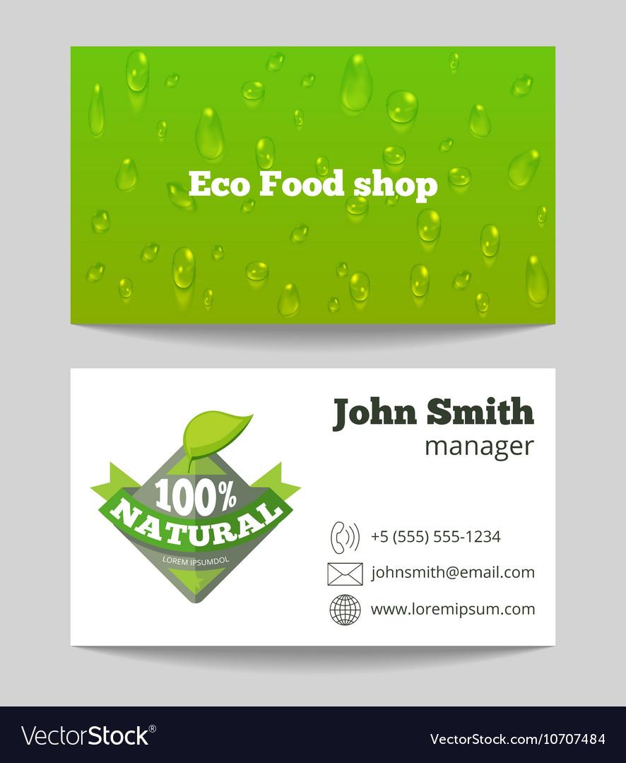 Green organic eco food shop business card vector image