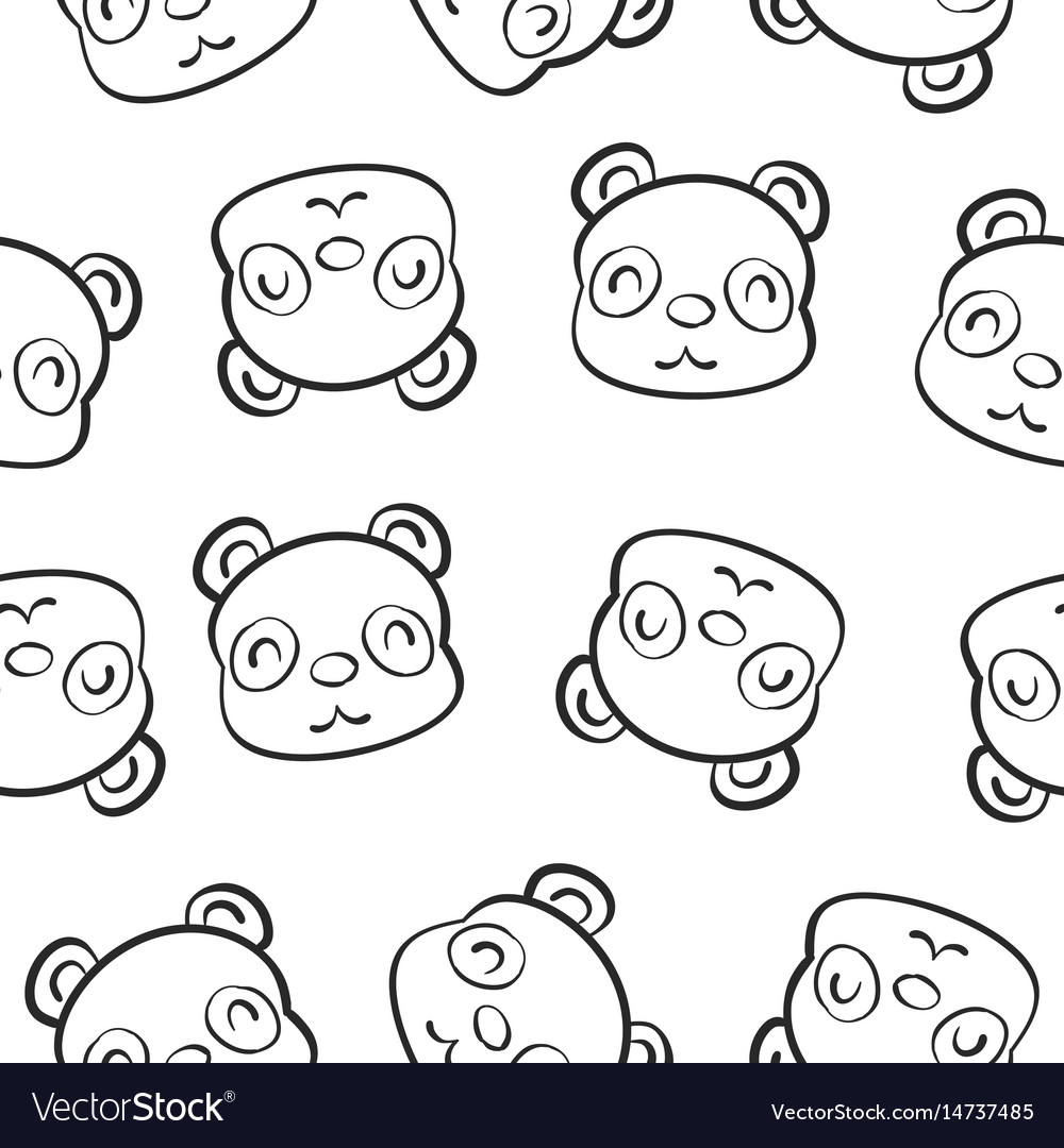 Cute animal hand draw pattern vector image