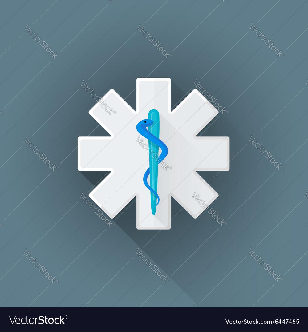 Flat ambulance emblem sign icon vector image