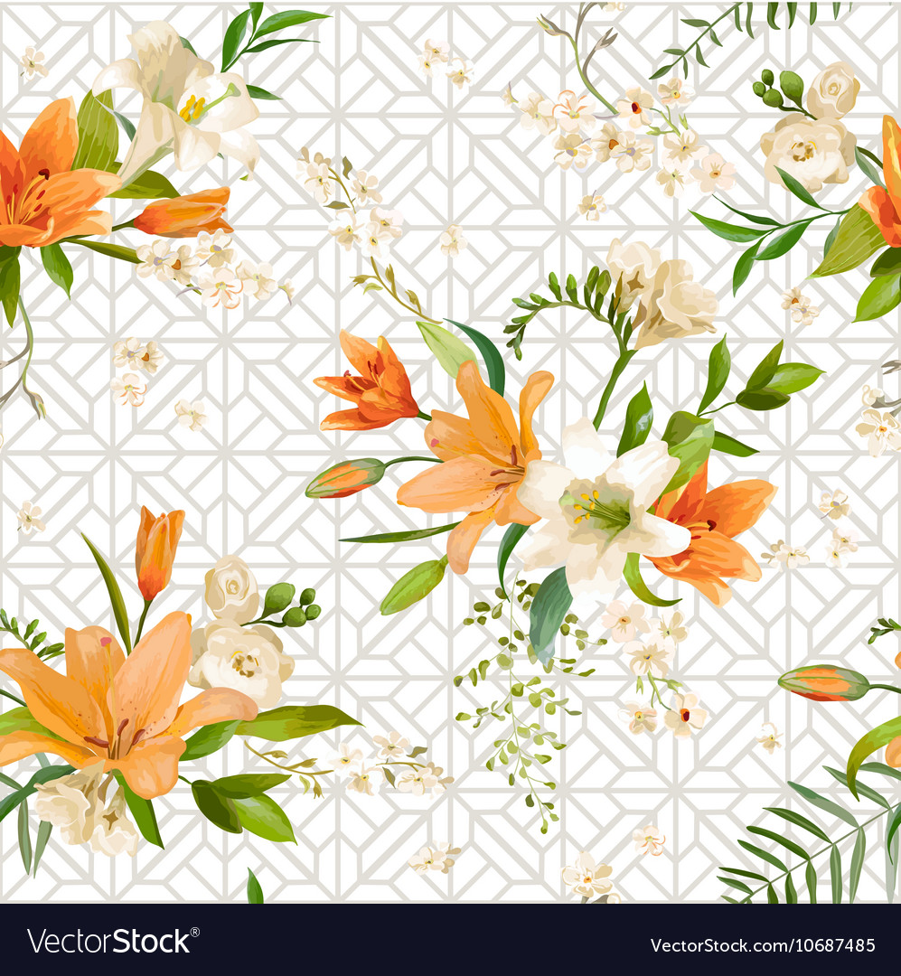 Spring lily flowers backgrounds seamless pattern spring lily flowers backgrounds seamless pattern vector image izmirmasajfo Gallery