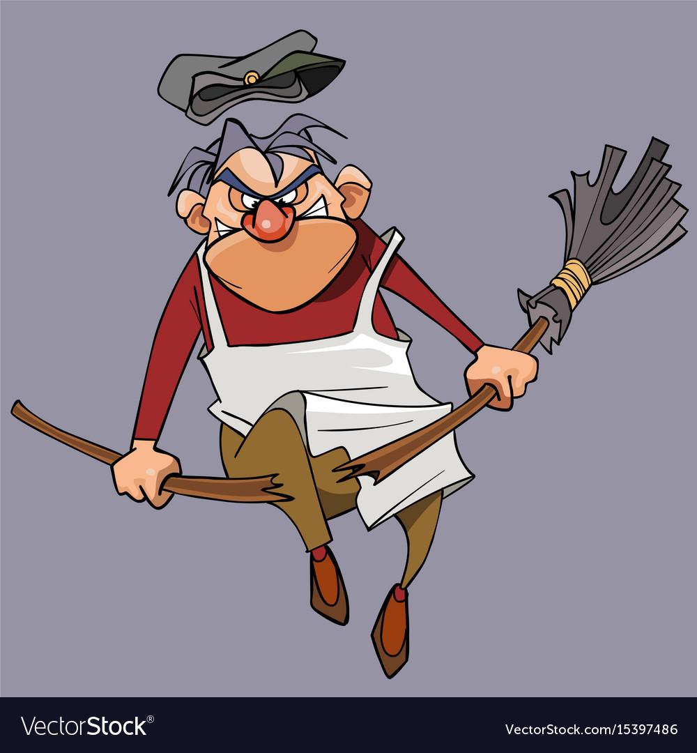 Cartoon evil male janitor breaks the broom vector image