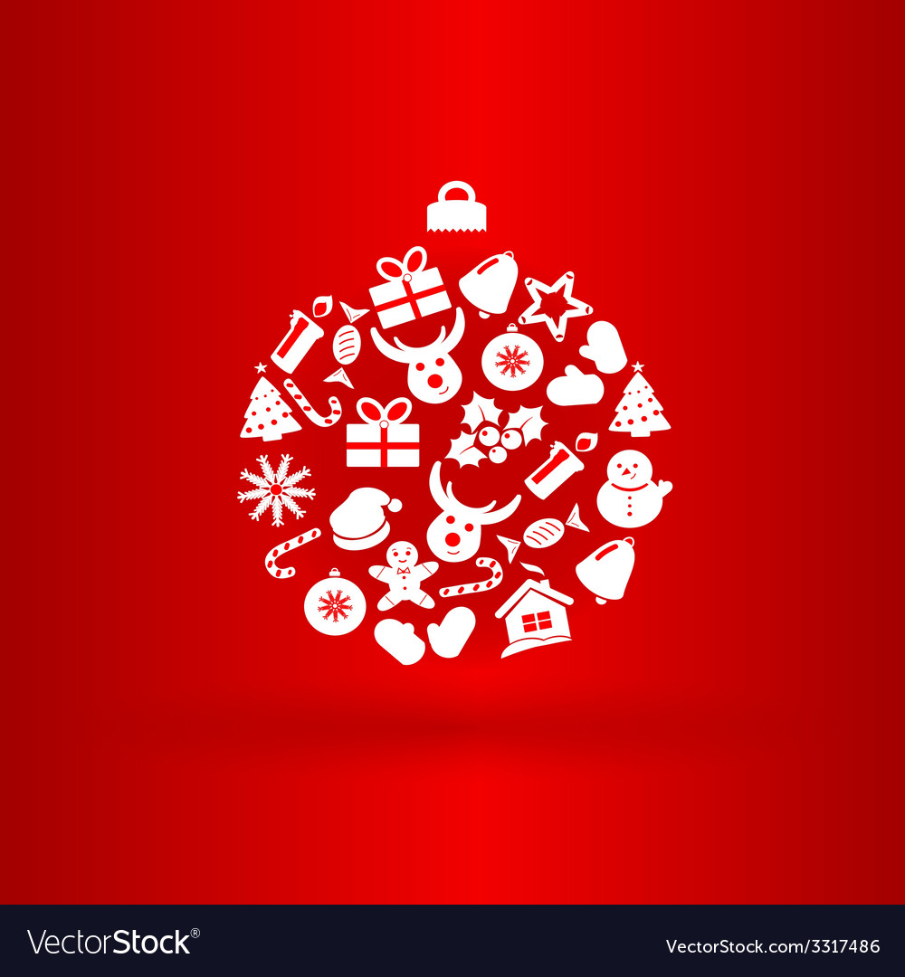 Funny christmas ball with icons vector image
