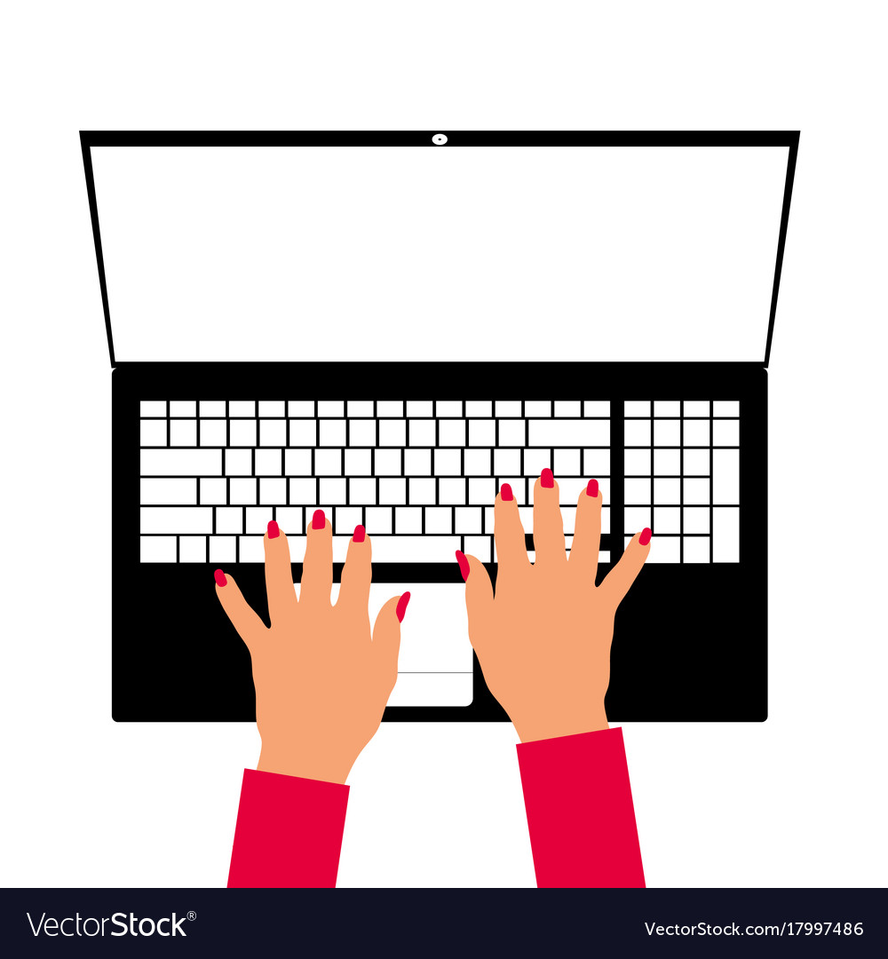 Woman hand on laptop vector image