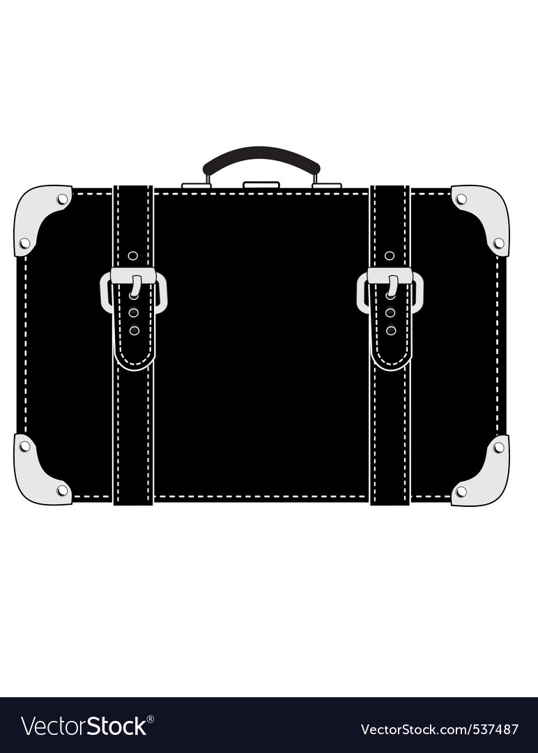 Black leather suitcase Royalty Free Vector Image
