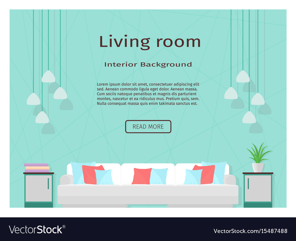 Modern living room interior banner for your web vector image