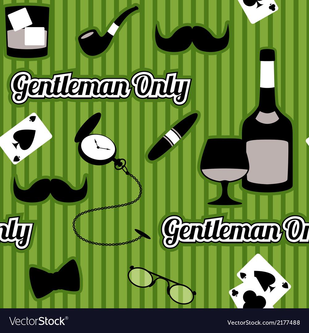 Retro gentleman accessories seamless pattern vector image