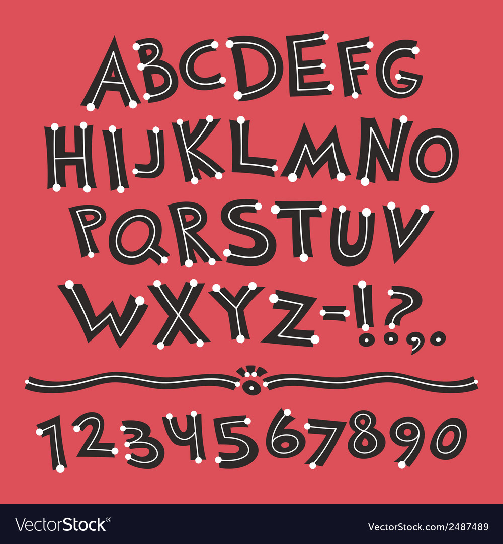 Cartoon Retro Font with Dots on Red Background