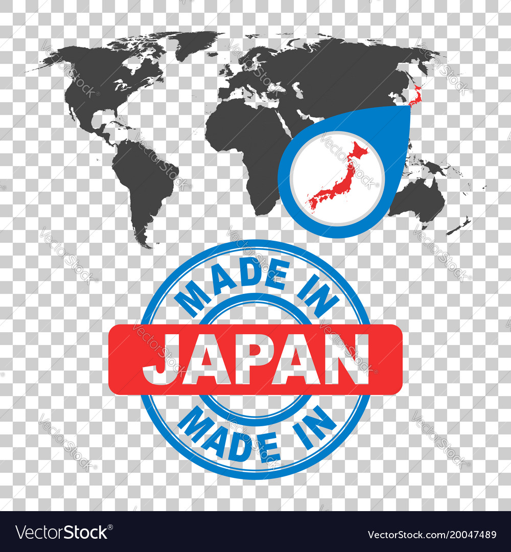 Made in japan stamp world map with red country vector image gumiabroncs Gallery